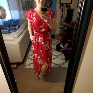 Red floral flowy sun dress L